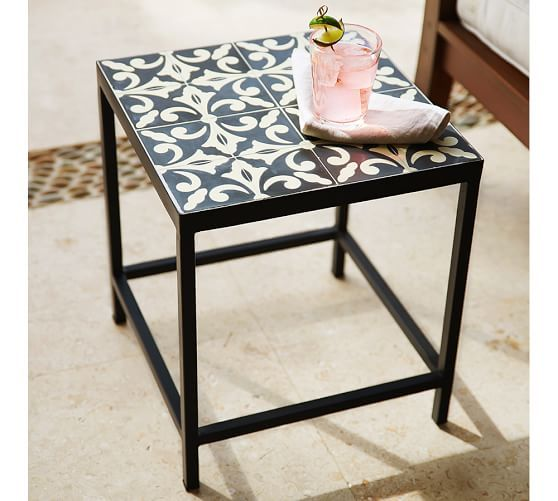 Square Tile Side Table Tile Top Tables Wrought Iron Table Tile