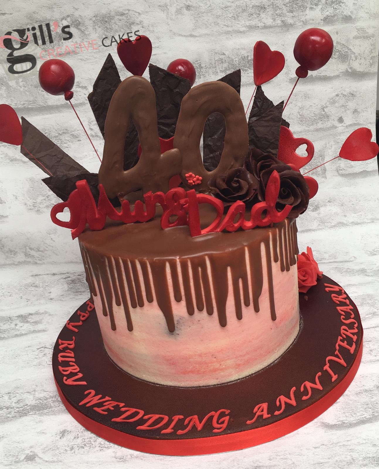 Ruby 40th Wedding Anniversary Chocolate Drip Cake Modern