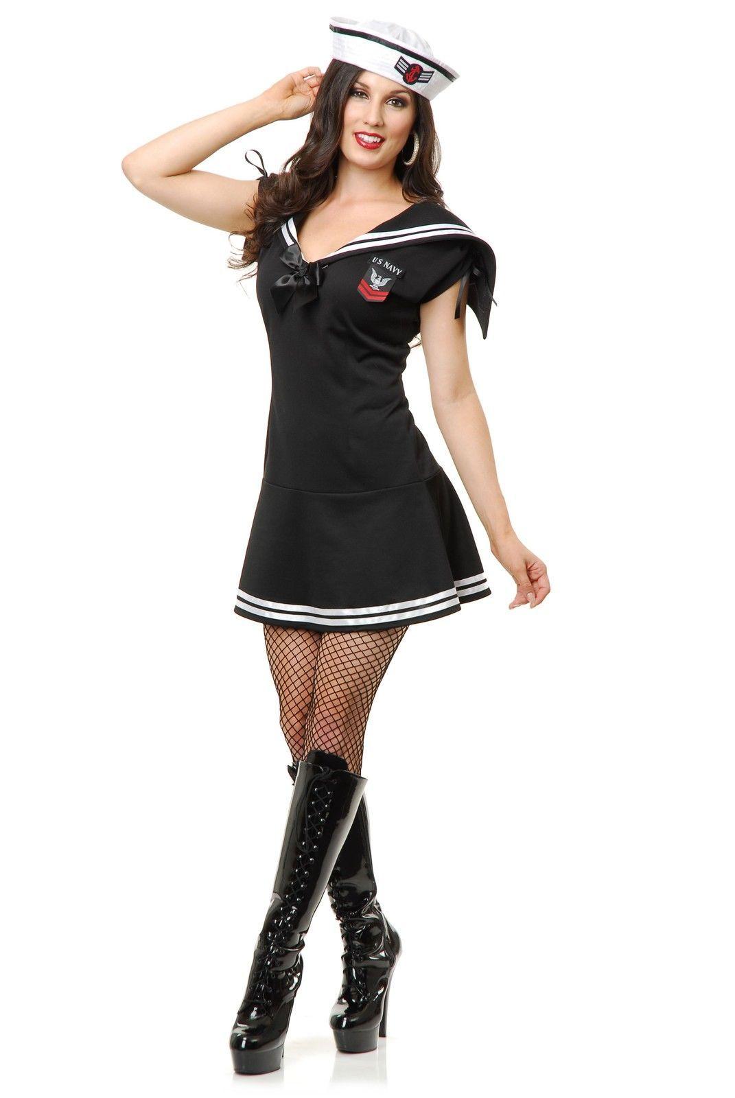 Black Sailor Gal Navy Uniform Adult Womens 1940s Halloween ...