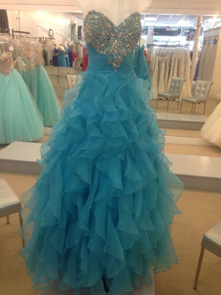 Turquoise quinceanera dress Ball gown Size 12 Sweet Sixteen Prom Formal Party #NightMoves #BallGown #Formal