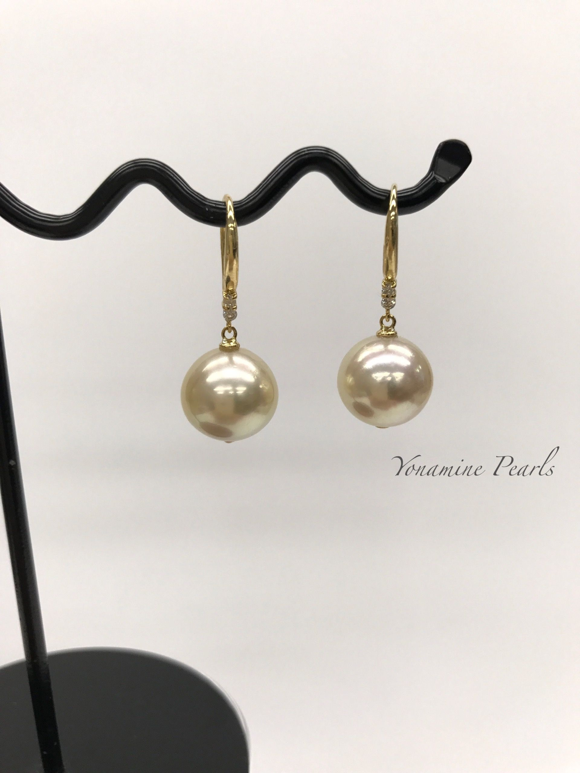 South Sea Champagne Pearl Earrings On K18 Yellow Gold Setting