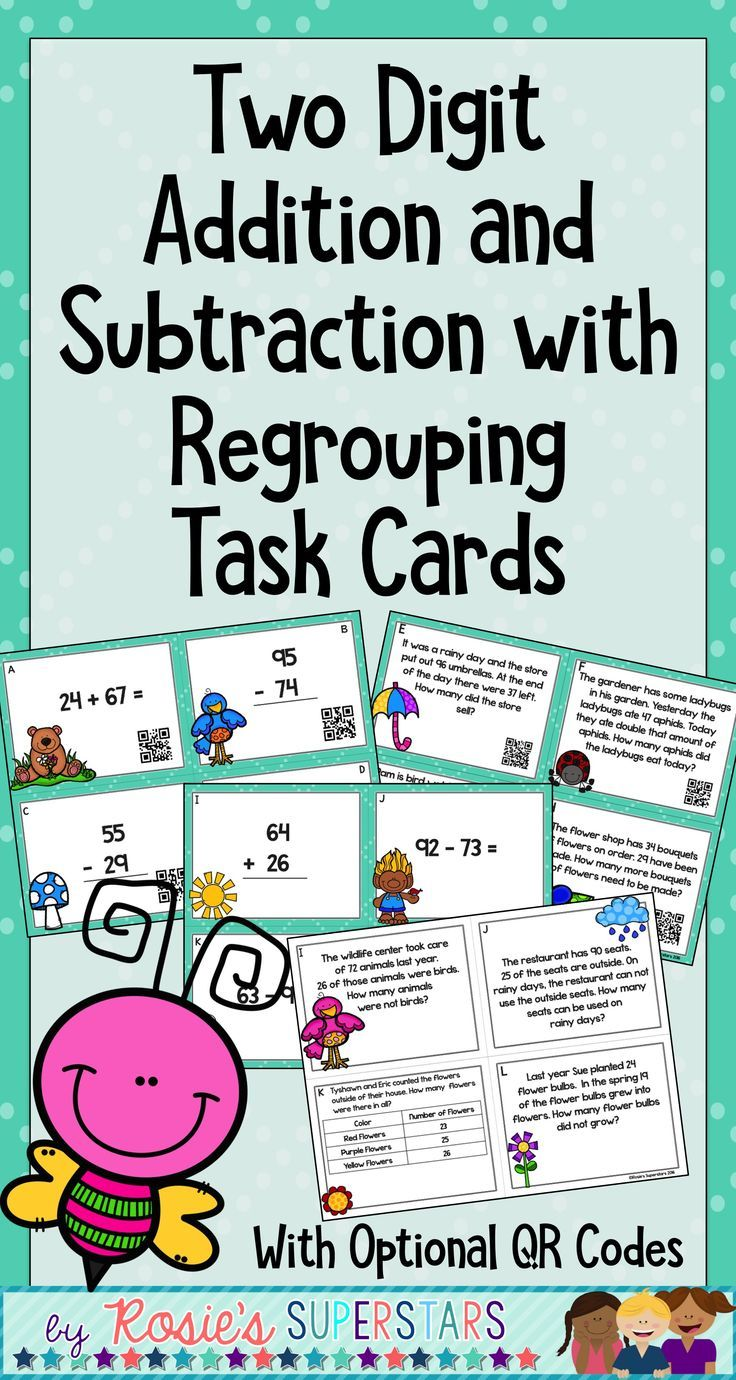 Double Digit Addition & Subtraction With Regrouping Task Cards w/QR ...