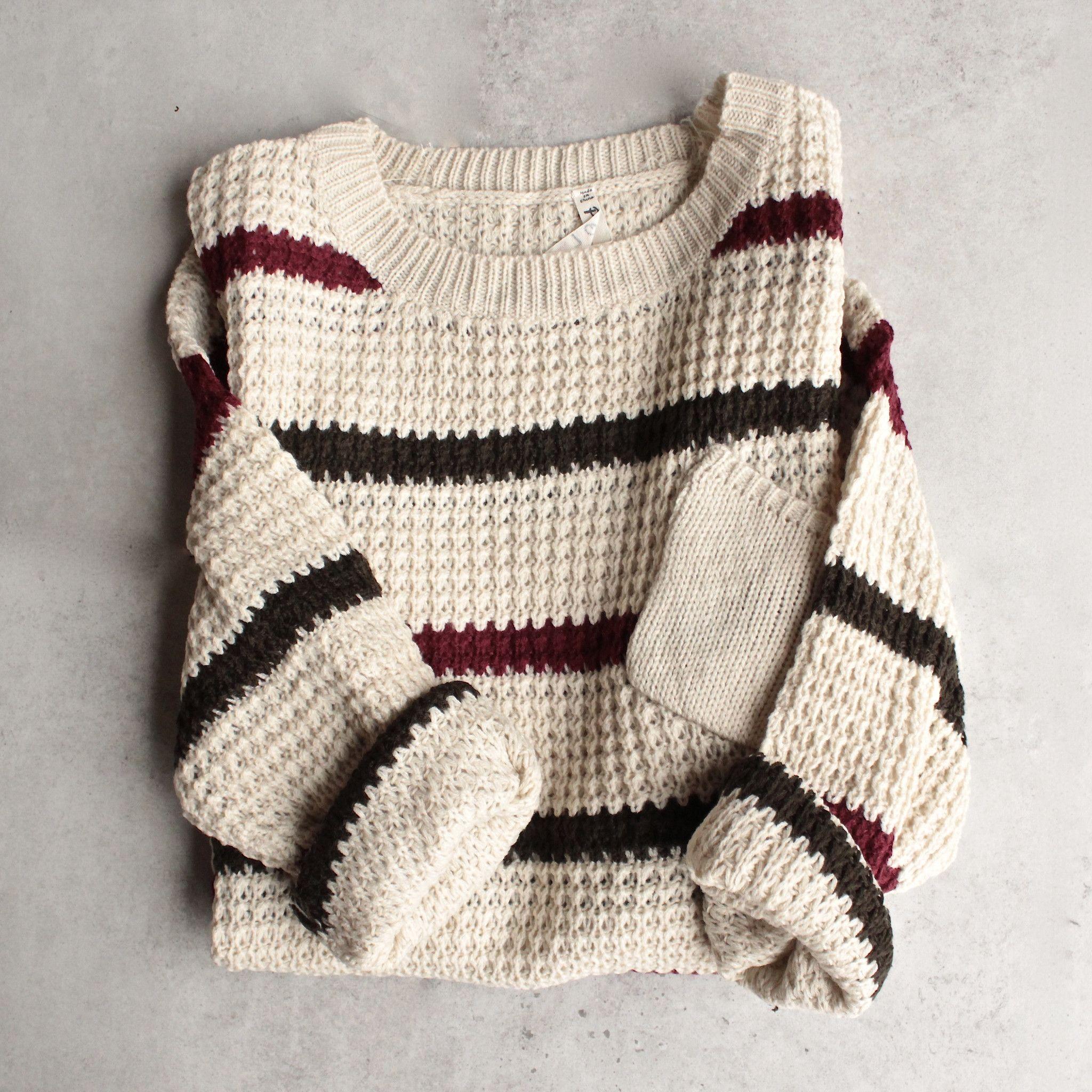 Chunky oversized stripe knit boyfriend sweater - beige | Striped ...