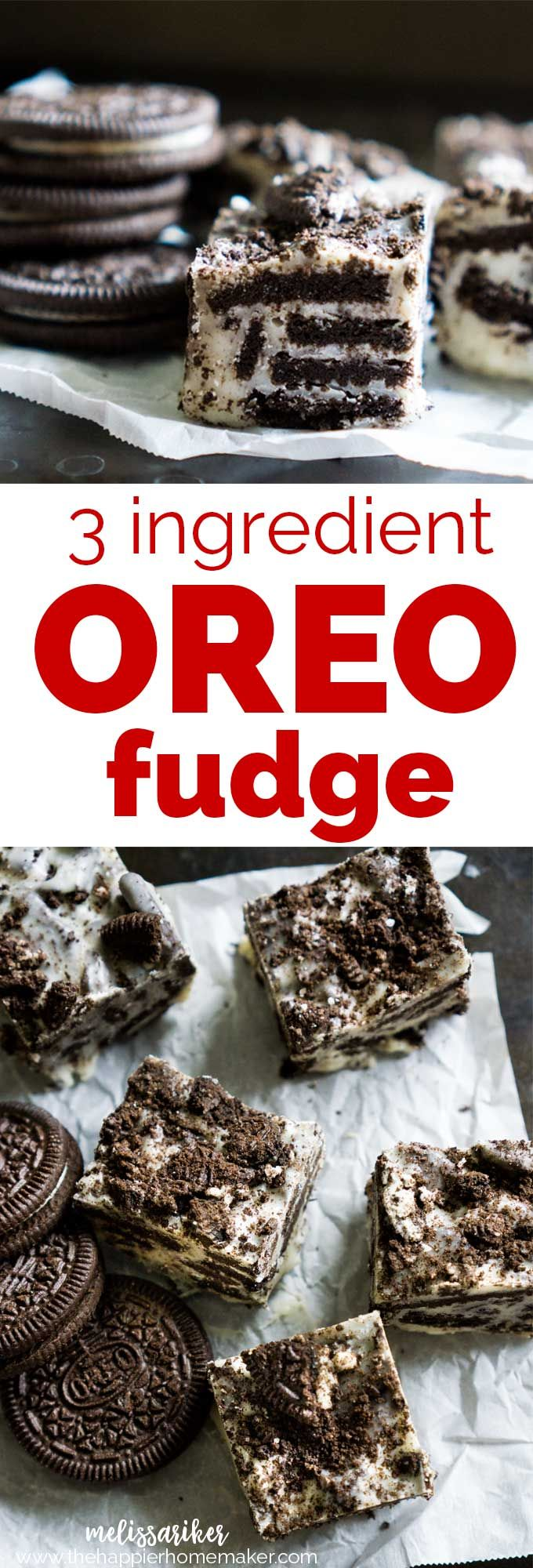 Delicious 3 ingredient OREO cookie white chocolate fudge ...