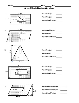 Area Of Shaded Region Worksheet With Images Area Worksheets