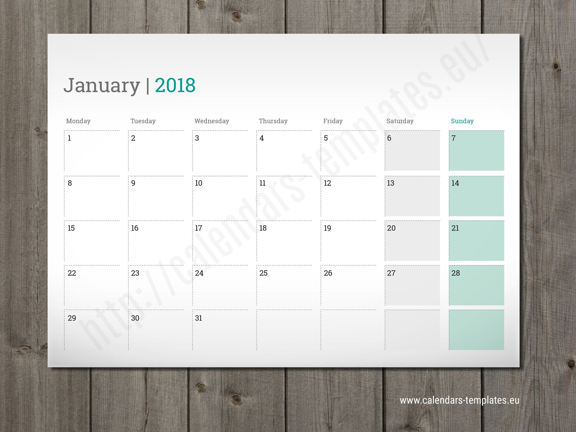 Printable Monthly Planner 2018 Desk Wall Or Table Pad Planner