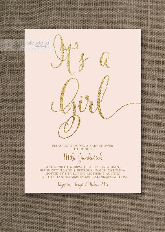 Blush pink gold baby shower invitation its a girl glitter pastel blush pink and gold baby shower invitation filmwisefo