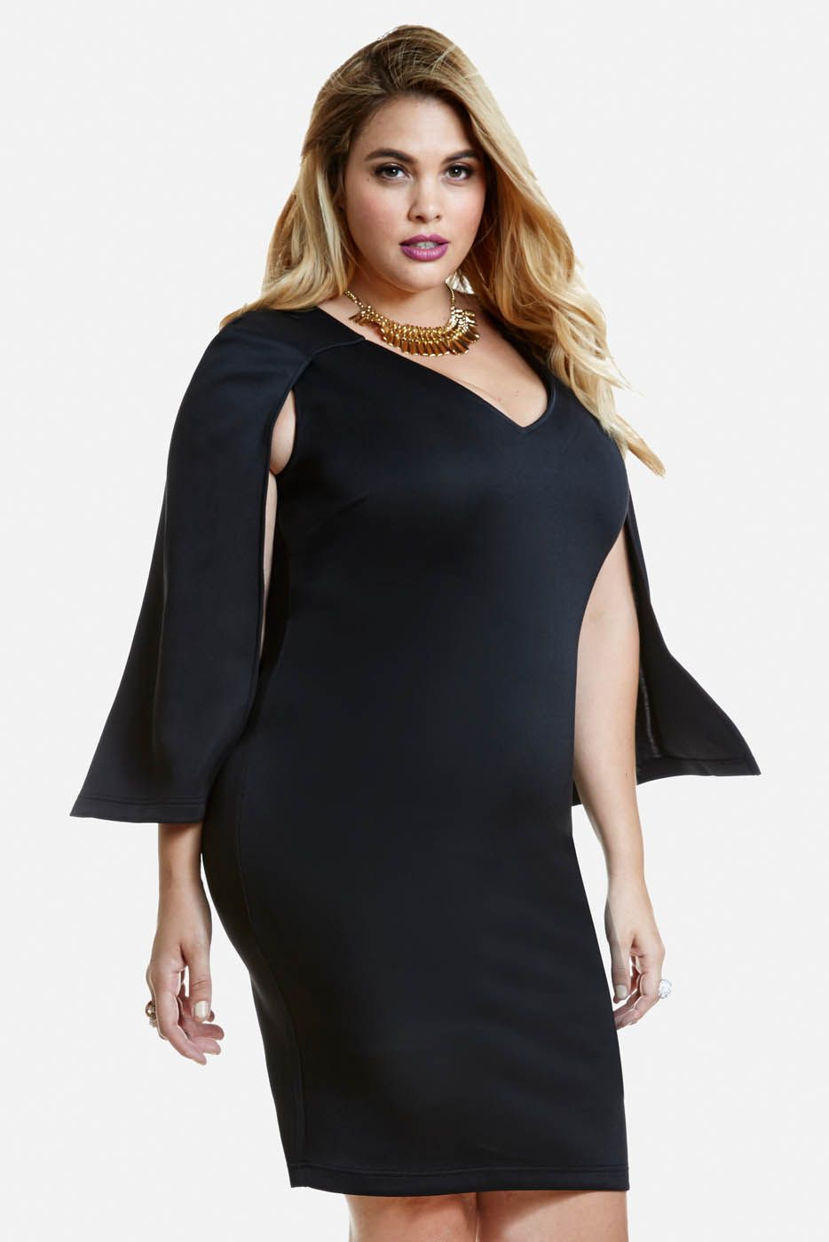 plus size hoxton scuba cape dress | fashion to figure | kristina