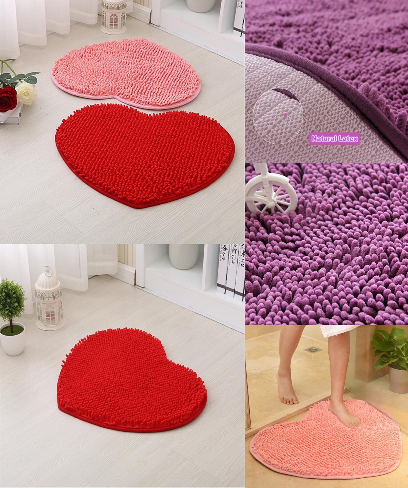 Visit To Buy Pcs Home Decor Fluffy Cm Love Heart Shape Non - Fluffy bath mat for bathroom decorating ideas