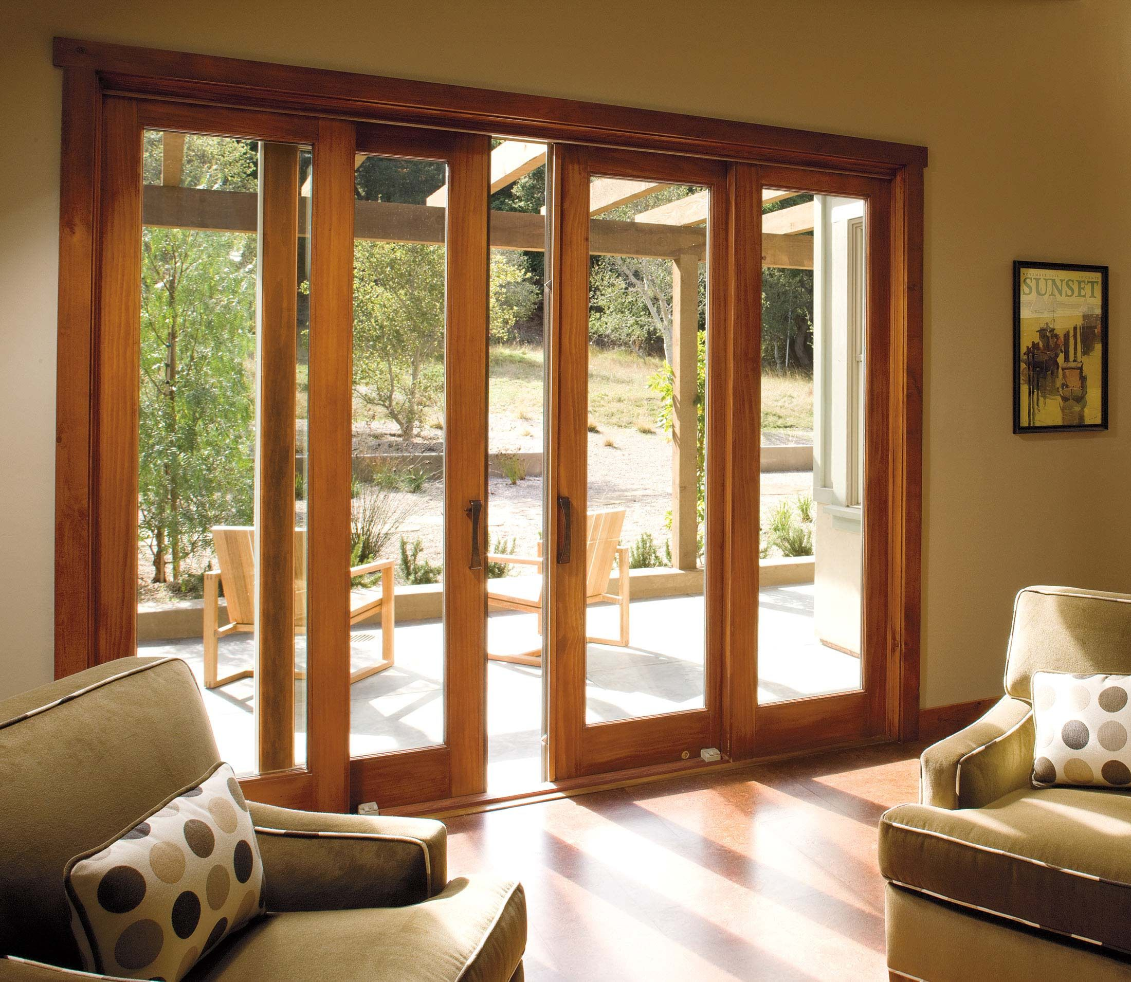 Sliding doors in living room but with another set of for Double pane sliding glass door