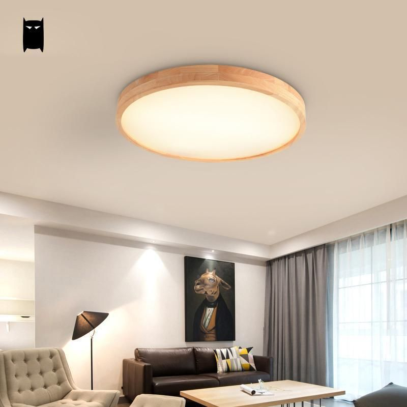 Round Thin Wood Geometry Ceiling Light Fixture Nordic Lamp Bedroom