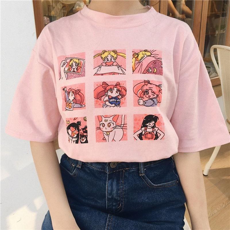 Vintage Sailor Moon Blocks Tee in Soft Pink 1