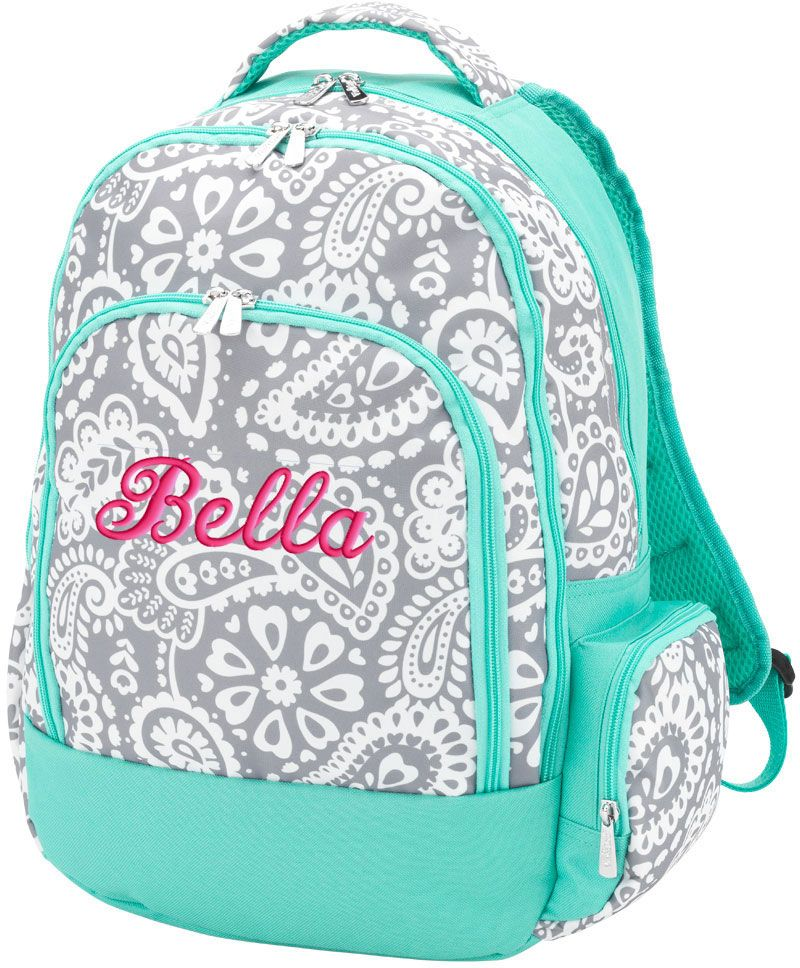 Personalized Backpack Gray Paisley | Perfect Backpacks for Kids ...