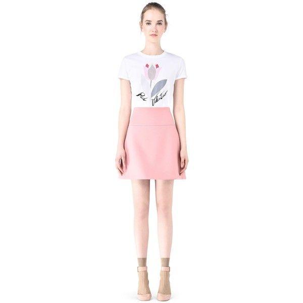 Redvalentino Scuba Mini Skirt (8.080 UYU) ❤ liked on Polyvore featuring skirts, mini skirts, pastel pink, short mini skirts, flare short skirt, flared skirt, pink skirt and pink mini skirt