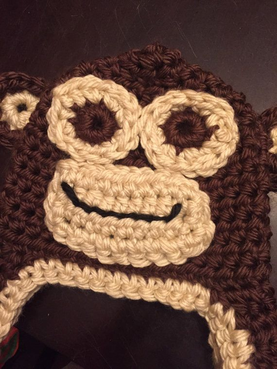 Crochet monkey hat. Your choice of two colors. State size in message ...