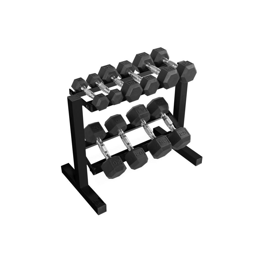 Ader Vertical Rack /& Rubber Dumbbell Set for 6 Pairs 3, 5, 10, 15, 20, 25 LBS