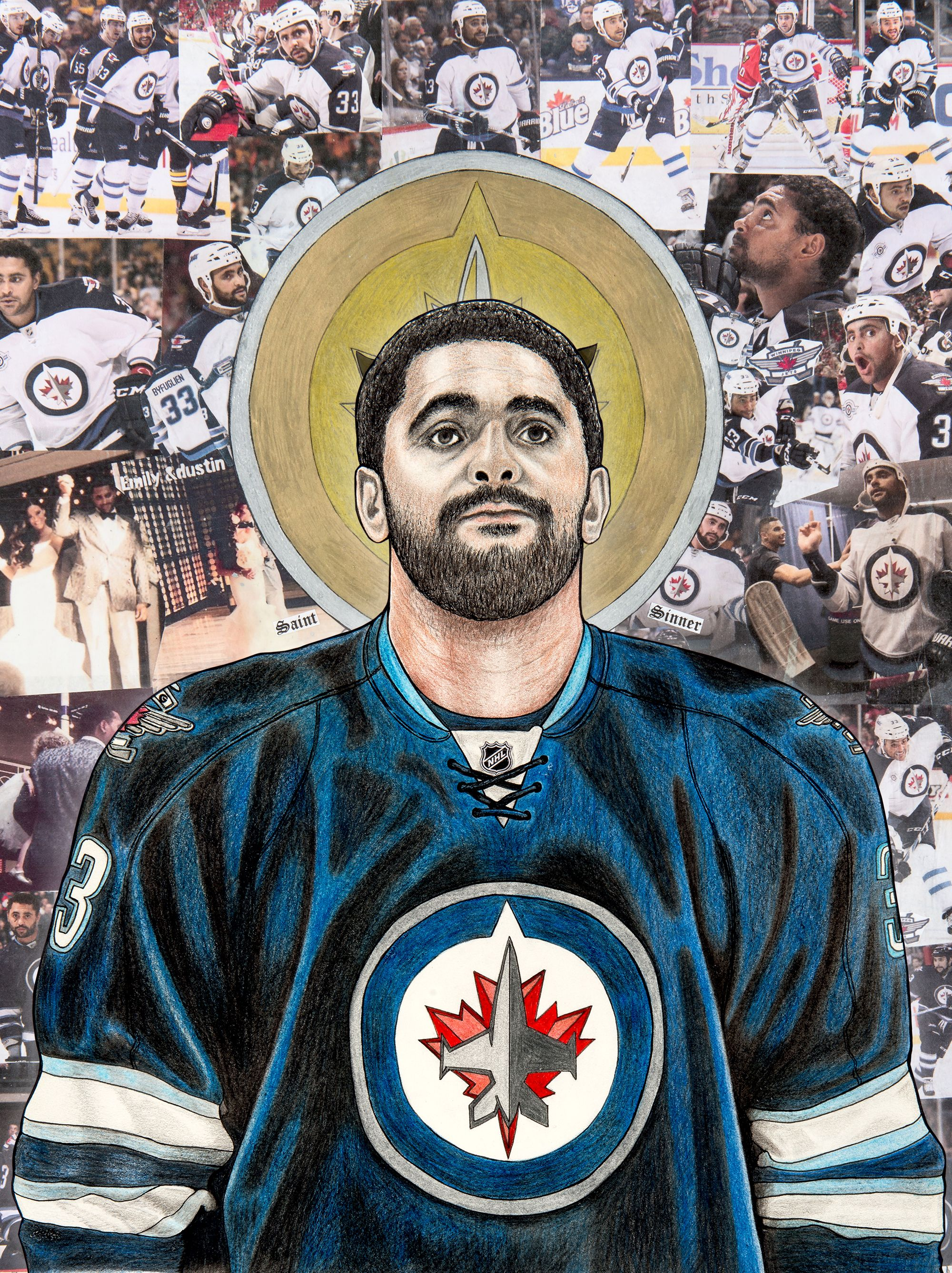 New better quality digital print image of Dustin Byfuglien. Saint and Sinner (with horns).