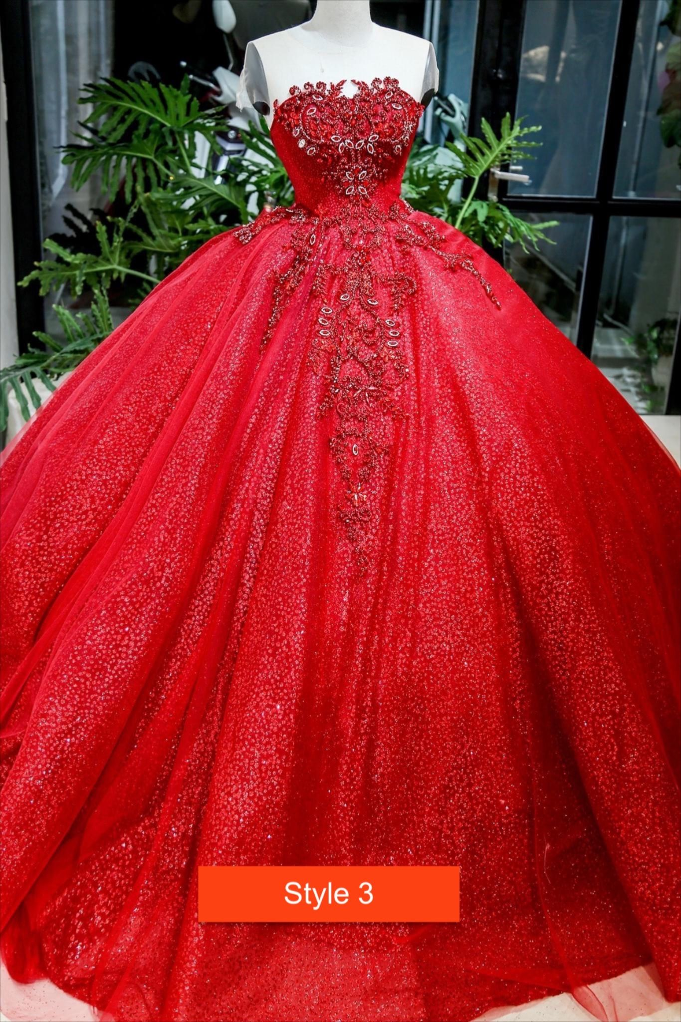 Various Styles Illusion Off The Shoulder Cap Sleeves Red Beaded Sparkle Ball Gown Wedding Dress With Glitter Tulle Ball Gowns Ball Gown Wedding Dress Red Ball Gowns [ 2048 x 1365 Pixel ]
