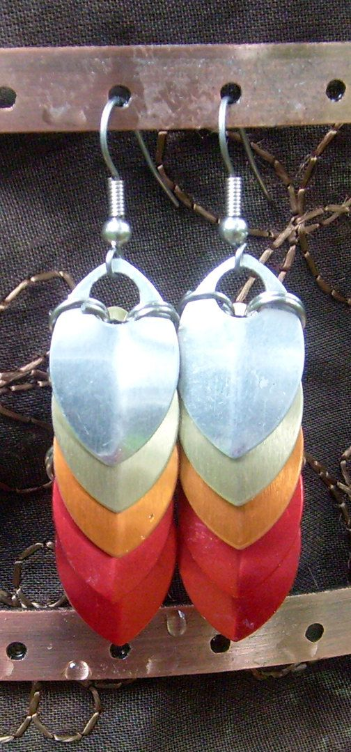 Pheonix Firebird Silver, Gold, Orange and Red Dragonscale Dangle Earrings via https://www.etsy.com/shop/AndraCassidy