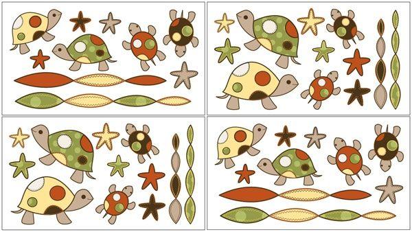Sweet Jojo Designs Turtle Set of 4 Wall Decals available at TinyTotties.com #tinytotties #kidsroomdecor