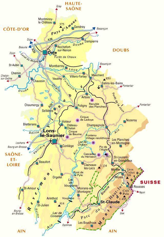 carte touristique du jura Carte   Département Jura | Jura, Jura tourisme, Vacances jura