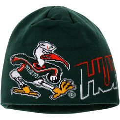 sports shoes 7691d a0504 Men s adidas Green Miami Hurricanes Fashion Skully Knit Beanie