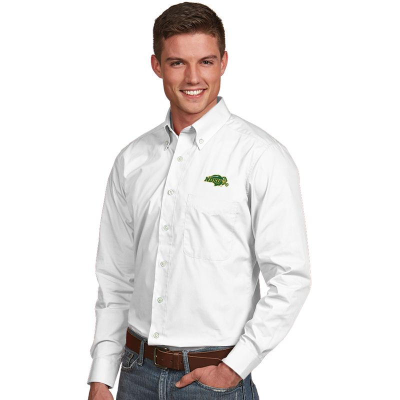 NDSU Bison Antigua Dynasty Woven Long Sleeve Button-Down Shirt - White
