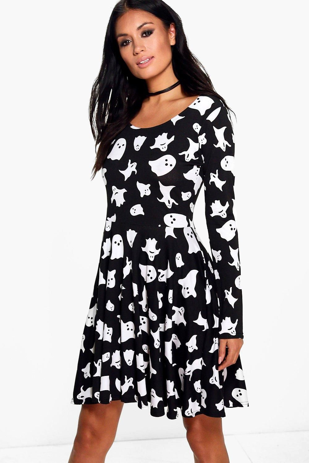 Hillary Halloween Ghost Print Skater Dress boohoo in