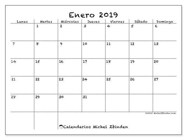 Calendario Diario Para Imprimir 2019.Calendario Enero 2019 77ld Calendars Planners Abril