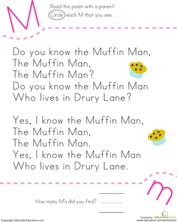 Find the Letter M: Do You Know the Muffin Man? | Pinterest | Local ...