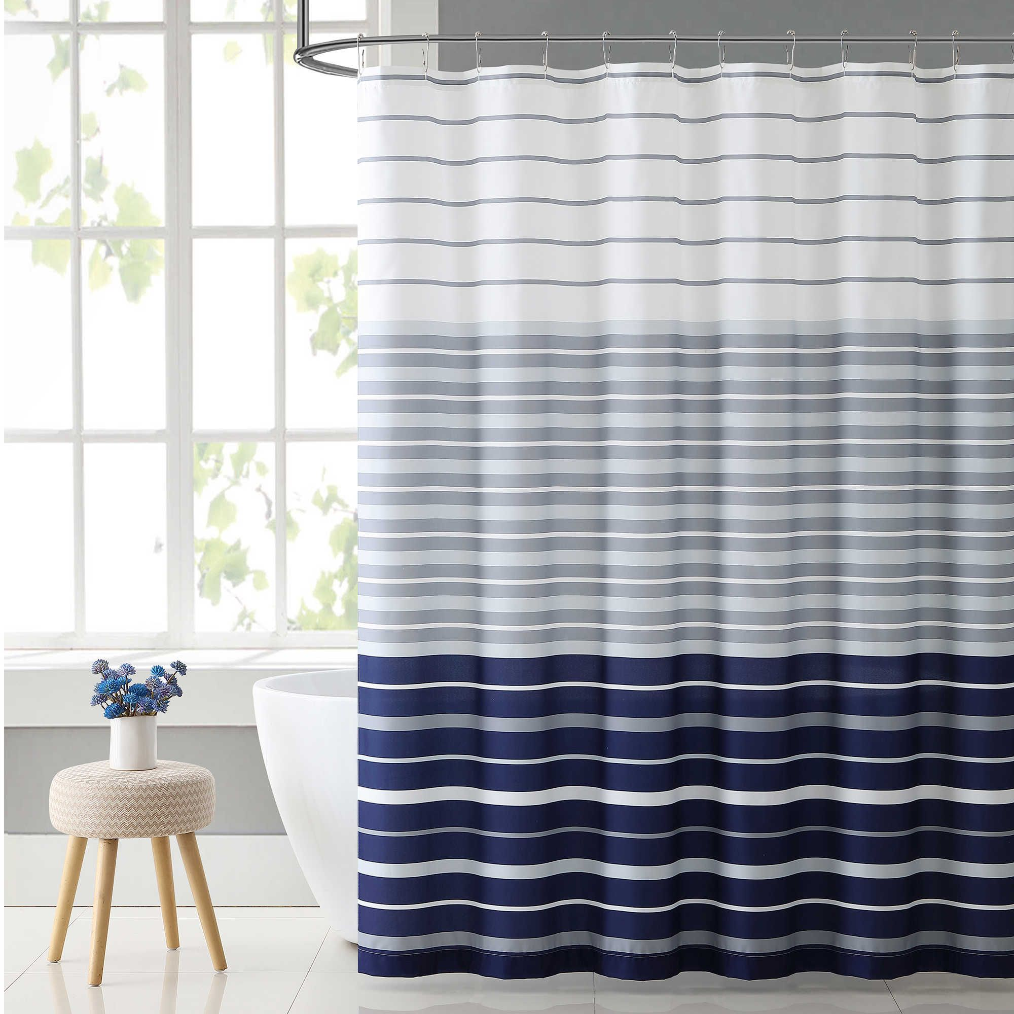 Vcny Home Preston Shower Curtain In Navy White Navy Blue Shower