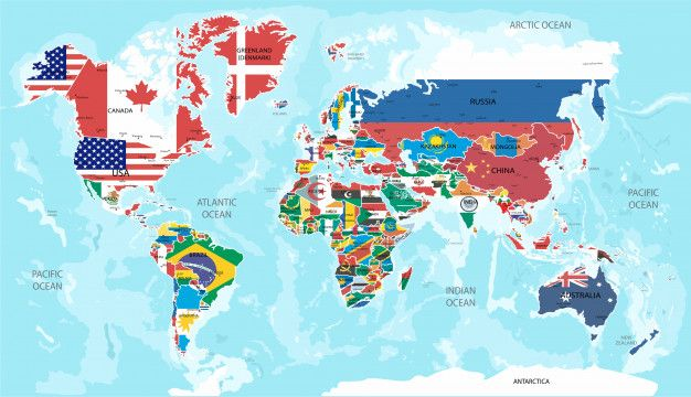 Illustration - Map Of The World With Flags Of All Countries.