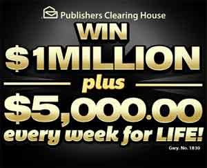 PCH Sweepstakes Win $1Million Lump-Sum Payout plus $5,000.00 A-Week-For-Life Mega Prize (Giveaway No. 1830) the drawing will be held on June 30th 2013...