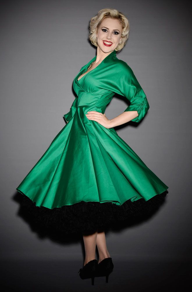 3a36323041947 The Emerald Green 1950's style dress is based on an original vintage  design. Wear it with a petticoat to dance the night away or on it's own as  a pretty day ...