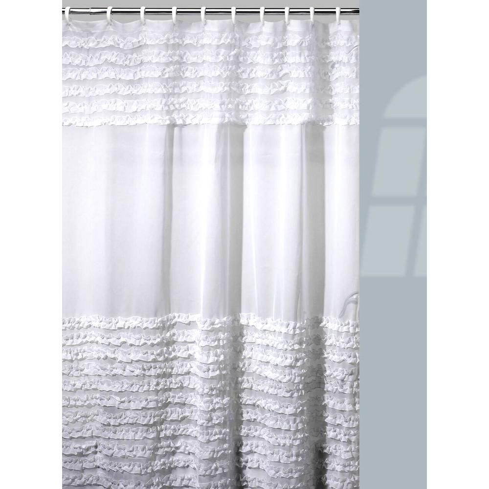 Creative Bath Ruffles Shower Curtain Hooks Bath Rug Set In White