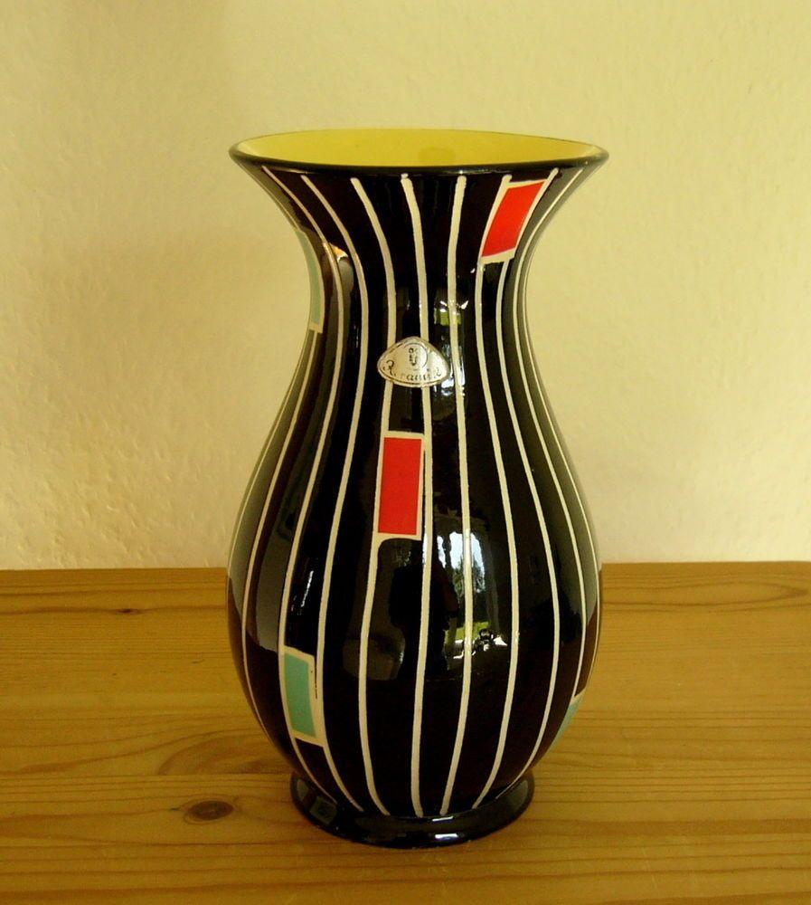 Ü Keramik Vase 20 Cm 50er 60er Jahre Schwarz Gelb Weiß Antique Items Vintage Finds Antiques