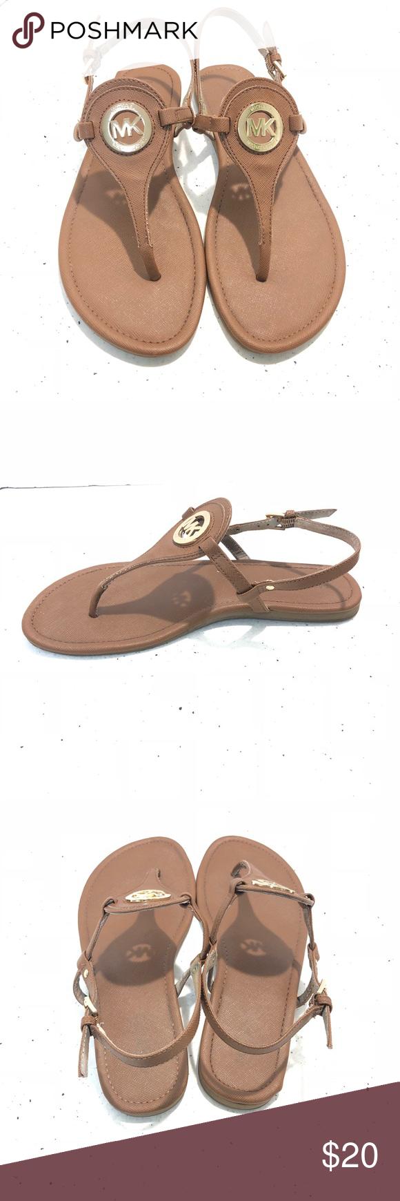 Michael Kors Tan T Strap Sandals T Strap Sandals Michael Kors Sandals Michael Kors Shoes