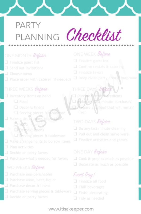 free party planning checklist
