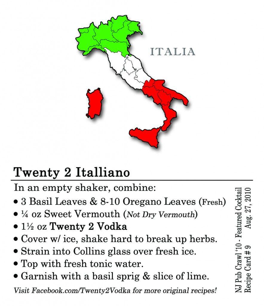 Twenty2 Italliano #cocktail: #vodka, muddled basil, muddled oregano, tonic, fresh basil garnish
