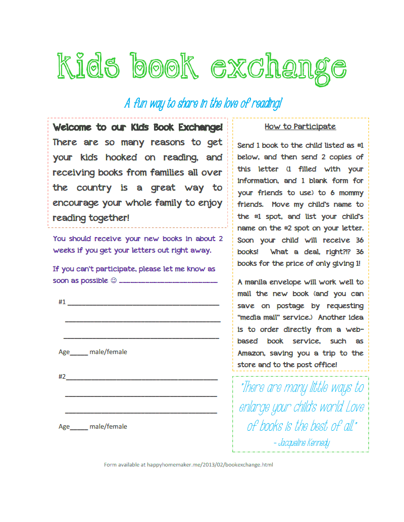 ChildrenS Summer Book Exchange Letter Template Receive  Books