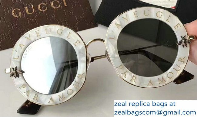 caa0af0991a Gucci L  Aveugle Par Amour Round Frame Metal Bee Detail Sunglasses 470459  Marble Color