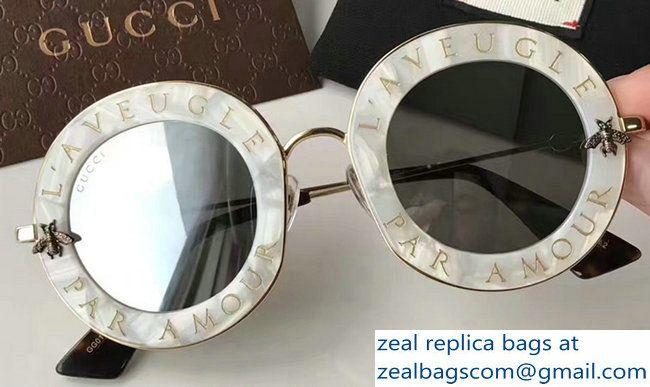 d938cce6a8d Gucci L  Aveugle Par Amour Round Frame Metal Bee Detail Sunglasses 470459  Marble Color