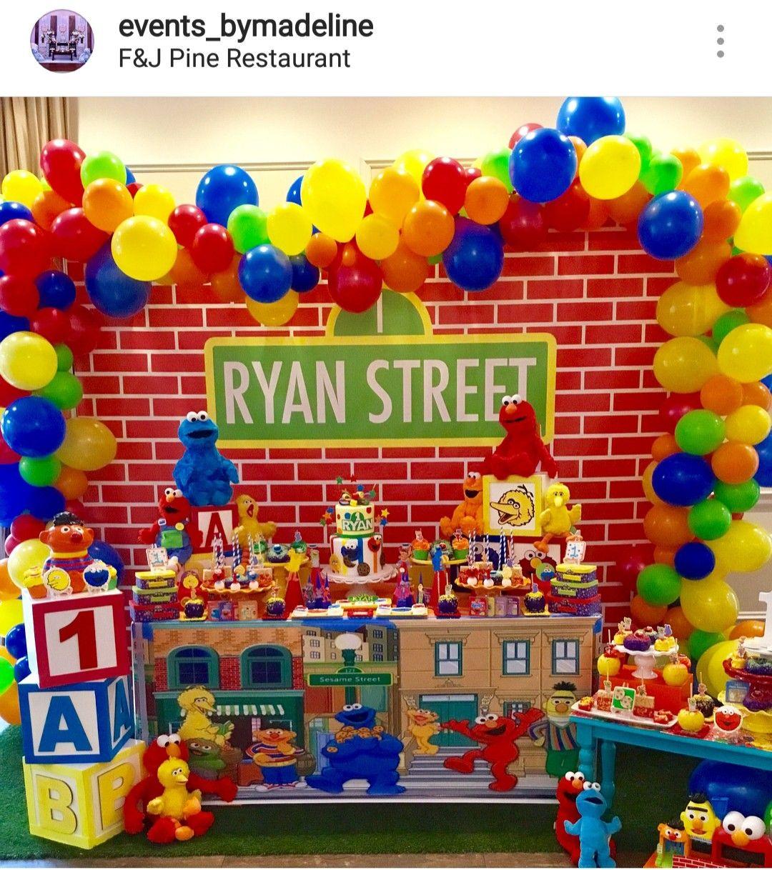 Sesame street Theme Dessert table and Decor | Sesame ...
