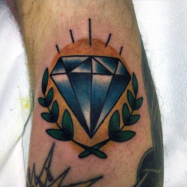Small Simple Mens Blue Diamond Shaded Tattoo Diamond Tattoos Traditional Diamond Tattoo Diamond Tattoo Designs