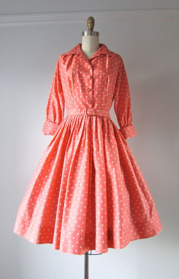 vintage 1950s dress / 50s dress / Peachy Dots | Pinterest | Ropa y ...