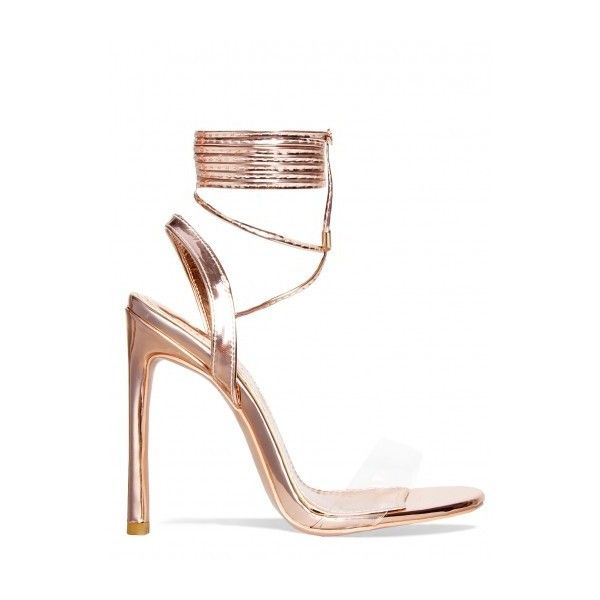 6670574f68 Ella Rose Gold Perspex Lace Up Heels : Simmi Shoes ($8.69) ❤ liked on  Polyvore featuring shoes, pumps, heels, lucite heel shoes, lucite shoes, lace  up ...