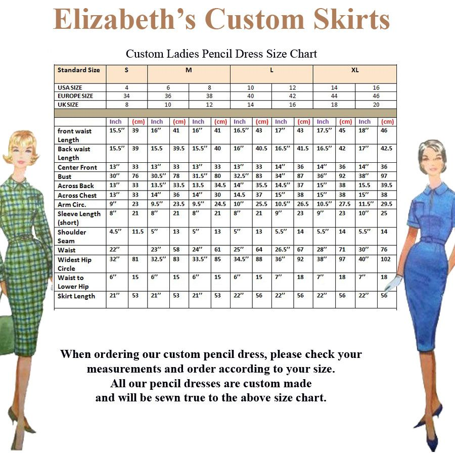 Ladies Pencil Dress Pencil Skirt Standard Size Chart Us Europe Uk Elizabeth S Custom Skirts Size Chart Chart Sewing Measurements