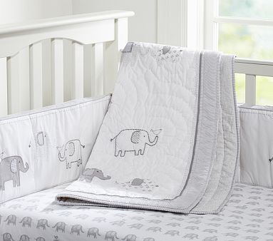 Taylor Nursery Bedding #pbkids this bed skirt w/ Jackson or Genevieve quilt and mix & match gray sheets.