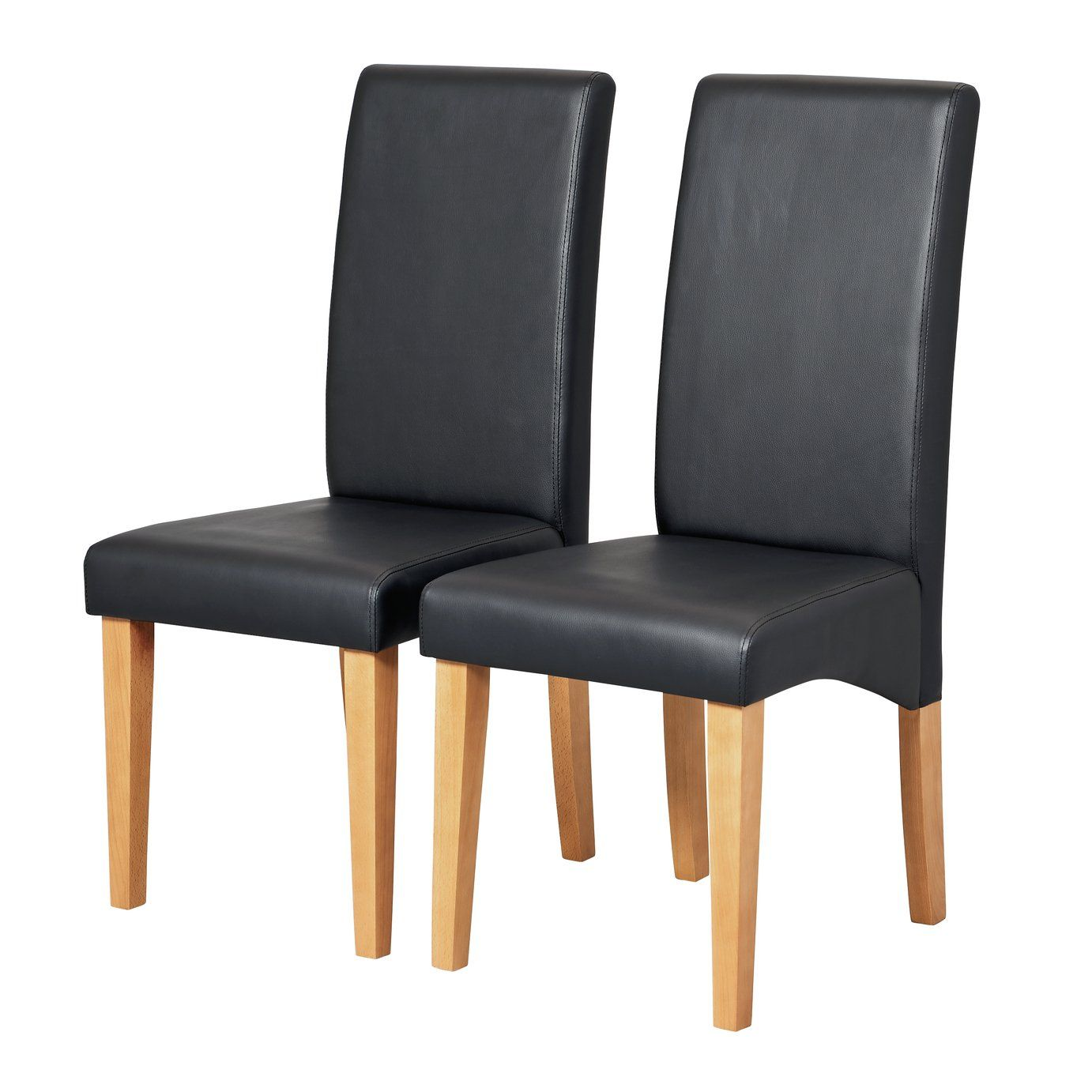 Argos Home Pair Of Skirted Dining Chairs Black In 2020 Chair