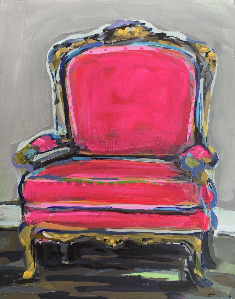 Pink Chair Print Still Life Chair Art Maren Devine Chair Print Art Chair Canvas Painting Painted Chairs